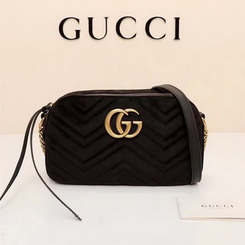 Gucci GG Marmont Matelasse Velvet Shoulder Bag 447632 Black