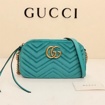 Gucci GG Marmont Matelasse Velvet Shoulder Bag 447632 Green