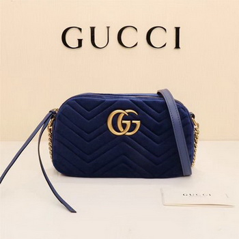 Gucci GG Marmont Matelasse Velvet Shoulder Bag 447632 Royal