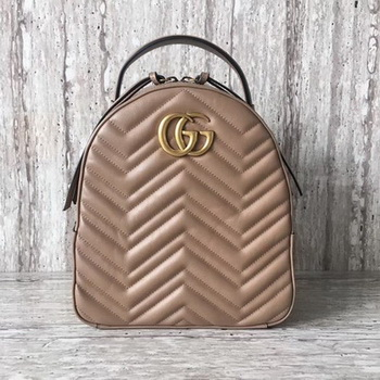 Gucci GG Marmont Quilted Leather Backpack 476671 Apricot
