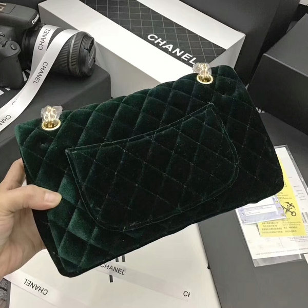 Chanel Suede Leather Flap Shoulder Bag CF8130 Green