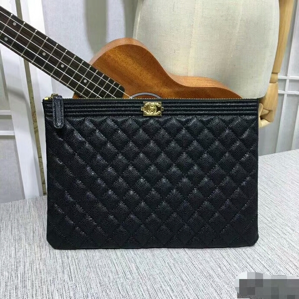 Chanel Clutch Bag Black Caviar Leather 7010 Gold