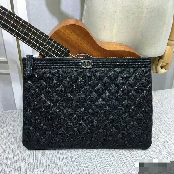 Chanel Clutch Bag Black Caviar Leather 7010 Silver