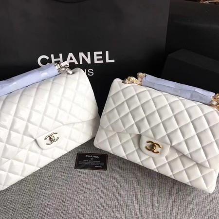 Chanel Classic Flap Bag Original Leather A1113 White