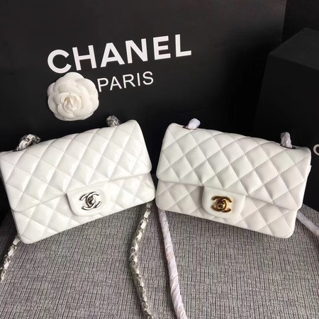 Chanel Classic Flap mini Bag Original Leather A1117 White