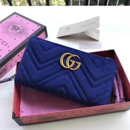 Gucci GG Marmont Velvet Zip Around Wallet 443123 Blue