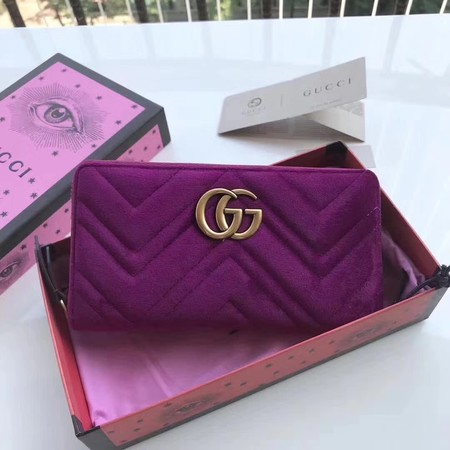 Gucci GG Marmont Velvet Zip Around Wallet 443123 Purple