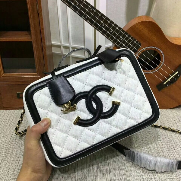 Chanel Calfskin Leather Shoulder Bag 6070 White