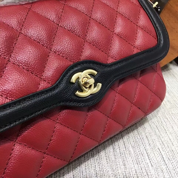 Chanel Calfskin Leather Flap Shoulder Bag 8007A Red