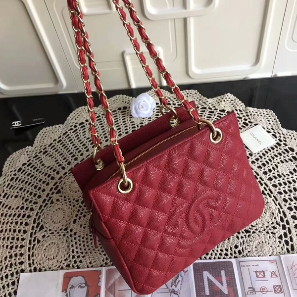 Chanel Caviar Calfskin Leather Tote Bag 18004 Red