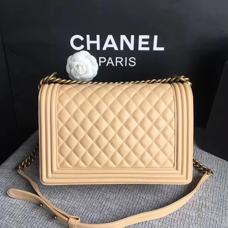Boy Chanel Flap Bags Original Sheepskin Leather A67088 Apricot