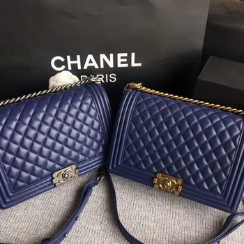 Boy Chanel Flap Bags Original Sheepskin Leather A67088 Blue