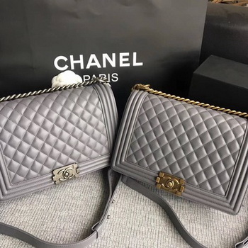 Boy Chanel Flap Bags Original Sheepskin Leather A67088 Grey