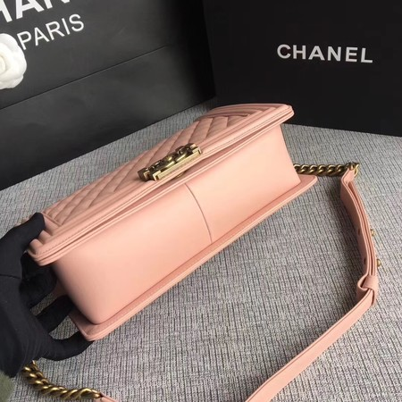 Boy Chanel Flap Bags Original Sheepskin Leather A67088 Pink