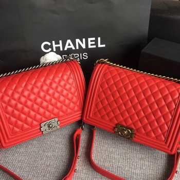 Boy Chanel Flap Bags Original Sheepskin Leather A67088 Red