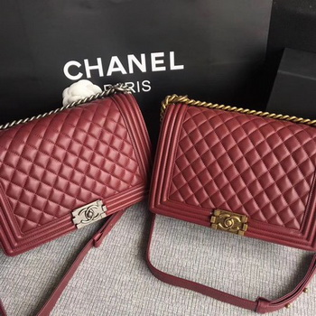 Boy Chanel Flap Bags Original Sheepskin Leather A67088 Wine