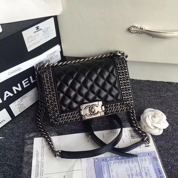 Boy Chanel Flap Shoulder Bag Sheepskin Leather A67085 Black