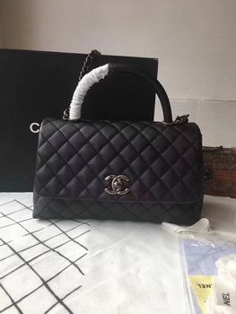 Chanel Classic Black Top Handle Bag Black Original Leather A92292 Silver