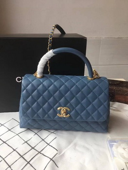 Chanel Classic Top Handle Bag Blue Original Leather A92292 Gold