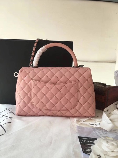 Chanel Classic Top Handle Bag Pink Original Leather A92292 Silver