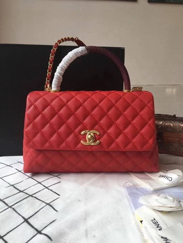Chanel Classic Wine Top Handle Bag Red Original Leather A92292 Gold