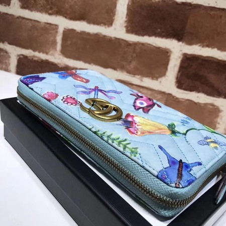 Gucci GG Marmont Velvet Zip Around Wallet 443123 SkyBlue