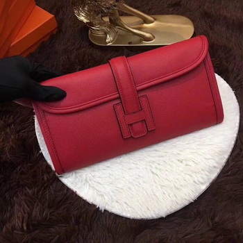Hermes Togo Leather Clutch H88017 Red