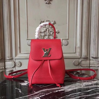 Louis Vuitton Soft Calfskin LOCKME BACKPACK MINI M54573 Red