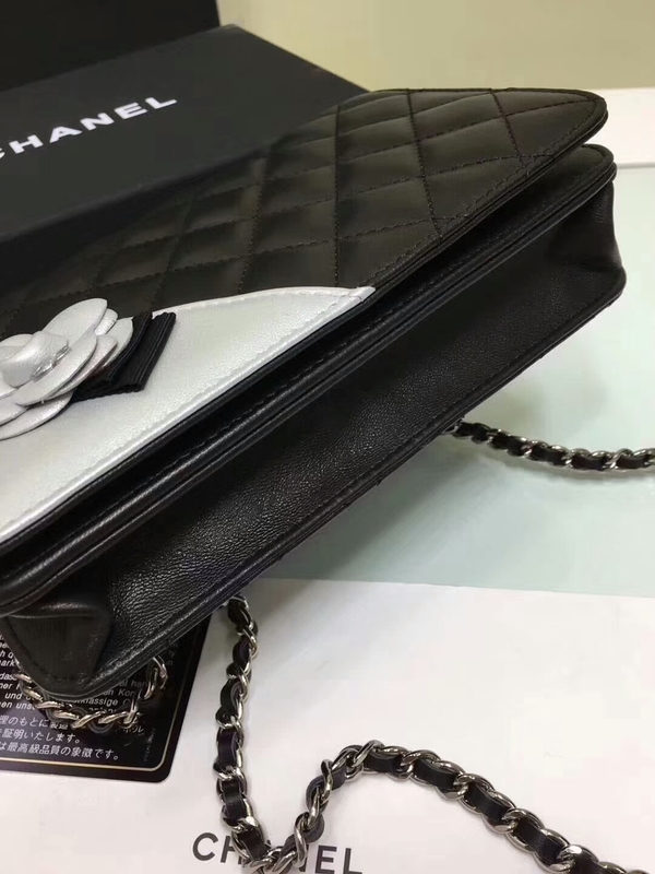 Chanel Camellia Flap Shoulder Bag Sheepskin Leather 88215B