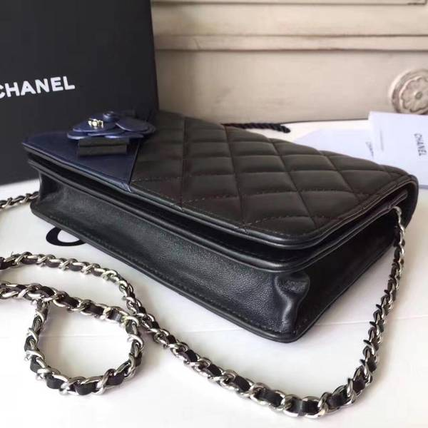 Chanel Camellia Flap Shoulder Bag Sheepskin Leather 88215D