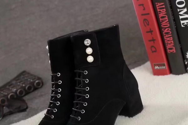 Chanel Ankle Boot Suede Leather CH2252 Black