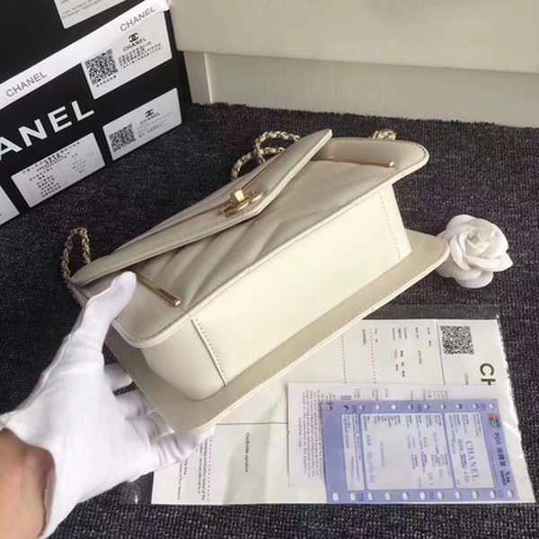 Chanel Classic Flap Bag Original Leather A77056 White