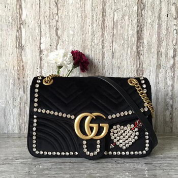 Gucci GG Marmont Embroidered Velvet Bag 443496 Black
