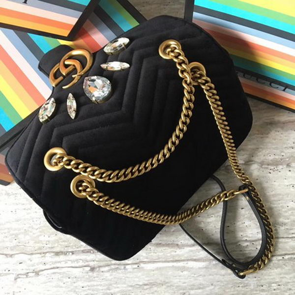Gucci GG Marmont Small Chevron Shoulder Bag 443497 Black