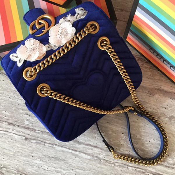 Gucci GG Marmont Embroidered Velvet mini Bag 446744 Royal