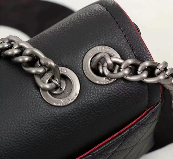 Chanel Calfskin Leather Flap Shoulder Bag 81733 Black