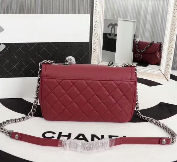 Chanel Calfskin Leather Flap Shoulder Bag 81733 Marroon