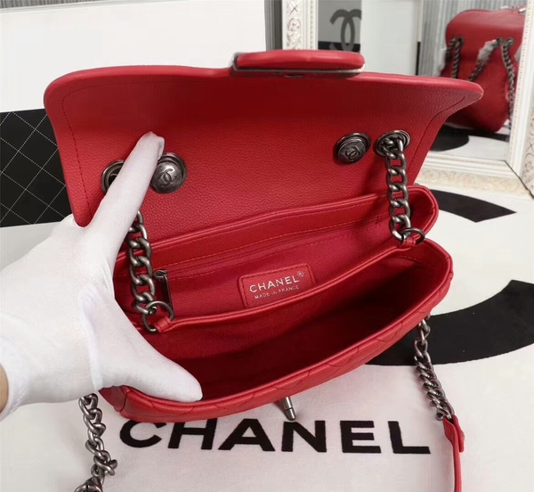 Chanel Calfskin Leather Flap Shoulder Bag 81733 Red