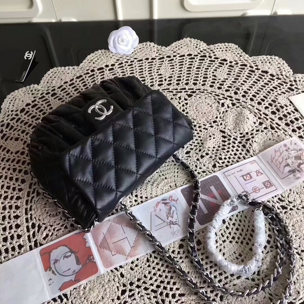 Chanel Falp Shoulder Bag Sheepskin Leather 8006A Black