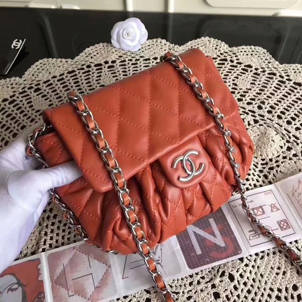 Chanel Falp Shoulder Bag Sheepskin Leather 8006A Orange