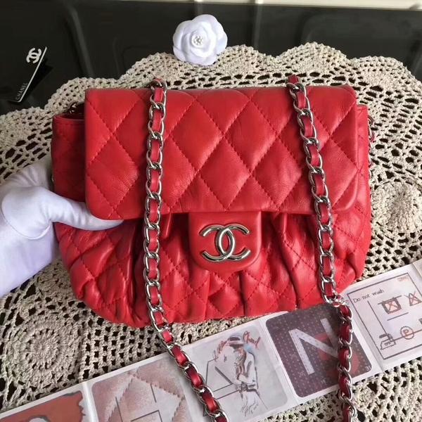 Chanel Falp Shoulder Bag Sheepskin Leather 8006A Red