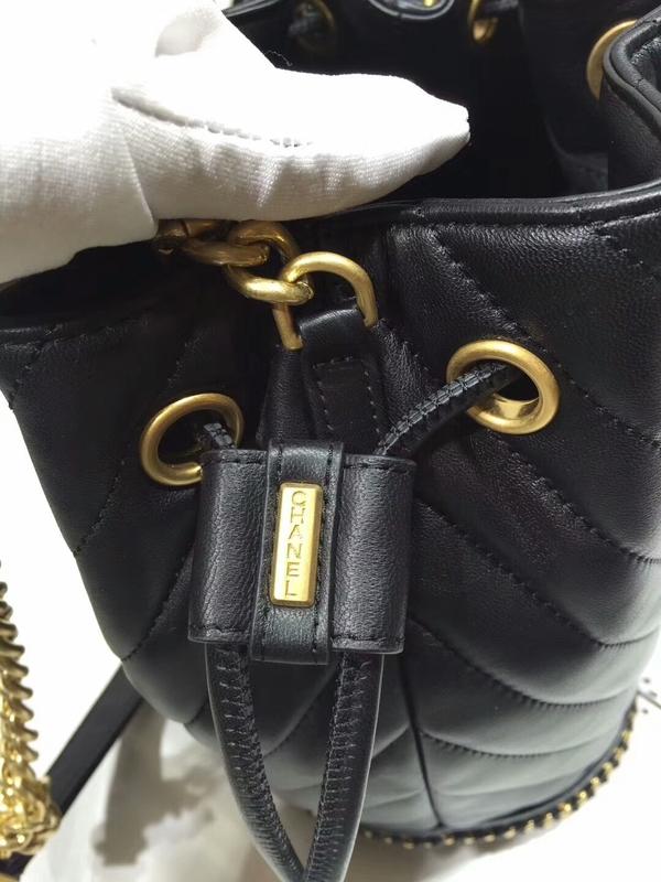 2017 Chanel Original Sheepskin Leather Bucket Bag 28172 Black