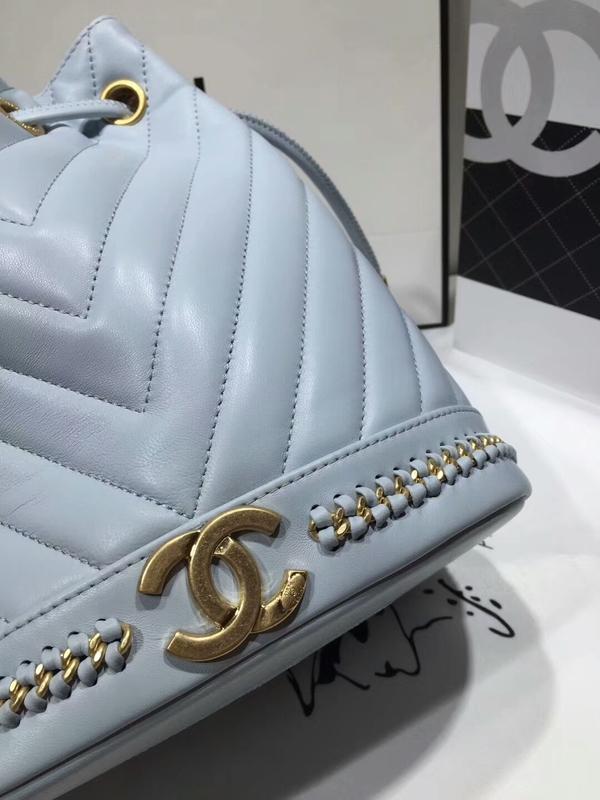 2017 Chanel Original Sheepskin Leather Bucket Bag 28172 Blue