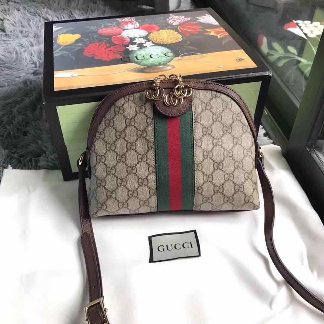 Gucci Ophidia Canvas Shoulder Bag 499621 Brown