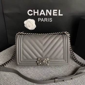 Boy Chanel Flap Bag Original Chevron Leather A67086V Grey