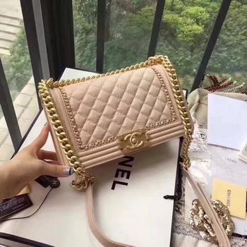 Boy Chanel Flap Bag Original Leather B67086 Apricot