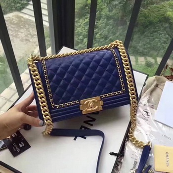 Boy Chanel Flap Bag Original Leather B67086 Blue