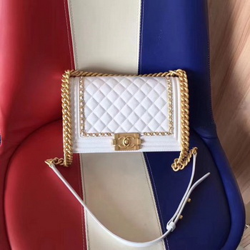Boy Chanel Flap Bag Original Leather B67086 White