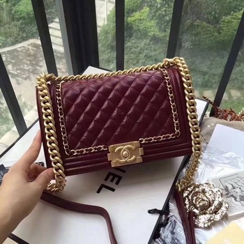Boy Chanel Flap Bag Original Leather B67086 Wine