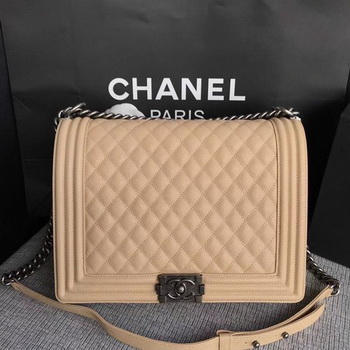 Boy Chanel Flap Shoulder Bag Apricot Original Cannage Pattern A67087 Silver